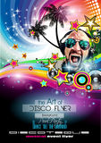 Club Disco Flyer Set with DJs and Colorful backgrounds Royalty Free Stock Photography