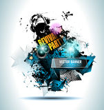 Club Disco Flyer Set with Music Elements and space for text Stock Photography