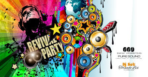 Club Disco Flyer template with Music Elements Stock Photography