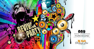 Club Disco Flyer template with Music Elements , Colorful Scalable backgrounds Stock Photography