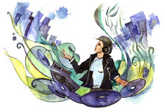 Club DJ stock illustratie