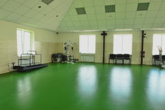Club dog handlers. Fitness room for dogs Stock Photo