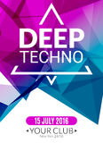 Club electronic deep techno music poster. Musical event DJ flyer. Disco trance sound. Night party Stock Images