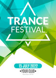 Club electronic trance festival music poster. Musical event DJ flyer. Disco trance sound. Night party.  Stock Photography