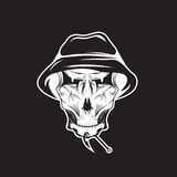 Club emblem with skull in panama hat Royalty Free Stock Photos