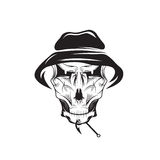 Club emblem with skull in panama hat Stock Photo