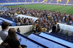 Club fans at FC Metalist open training Royalty Free Stock Photo