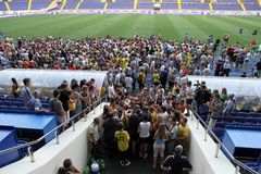 Club fans at FC Metalist open training Royalty Free Stock Image