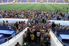 Club fans at FC Metalist open training. KHARKIV, UKRAINE - AUGUST 6: Club fans at FC Metalist open training, August 6, 2010 in Kharkov, Ukraine Royalty Free Stock Image