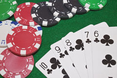 Club flush poker hand Royalty Free Stock Photos