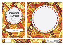 Club Flyers with copy space and hand drawn pattern Royalty Free Stock Images
