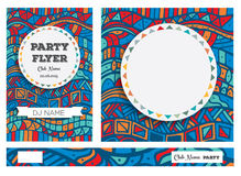 Club Flyers with copy space and hand drawn pattern. Royalty Free Stock Image