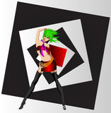 The club girl. On an abstract background of a musical theme Royalty Free Stock Image
