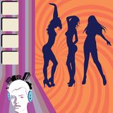 Club girls flyer. Girls night out illustration, vector Stock Image