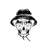 Club grunge emblem with skull in panama hat Royalty Free Stock Images