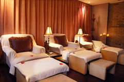 Club interior. Corner of the clubhouse, indoor a lounge for guests to use Stock Images