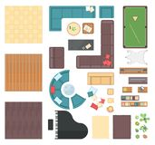 Club interior elements - set of modern vector objects royalty free illustration