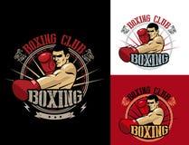 Club Logo Set di pugilato Emblema di pugilato, etichetta, distintivo, progettazione della maglietta Immagine Stock