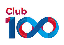 Club 100 logo typography. Club 100 typography in form of infinity symbol Business logo vector illustration