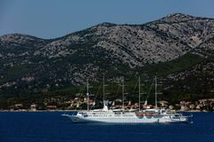 Club Med 2 sailing in Dalmatia. Club Med 2, a five-masted computer-controlled staysail schooner, sailing in Dalmatia. The ship combines seven computer-operated royalty free stock photos