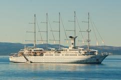 Club Med 2 sailing ship in Adriatic sea. Club Med 2 sailing ship anchored close to Croatian coast in Adriatic sea royalty free stock photos