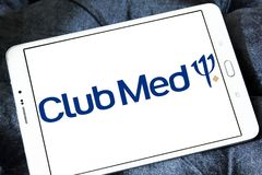 Club Med tourism company logo. Logo of Club Med tourism company on samsung tablet. Club Med is a private French company specializing in premium all inclusive royalty free stock photography