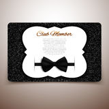 Club member vector card, gentlemen club, vip card, black bow Stock Image