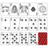 Playing cards series `Zodiac signs`. Club minemal black suit, joker and back. Background white card stock illustration