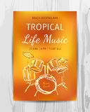 Club music concert poster. Beach Party Flyer. Club music concert poster. DJ lineup design. Vector template Stock Photo