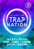 Club music poster banner design. Trap nation flyer creative event card for night party invitation Royalty Free Illustration