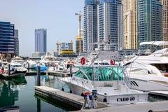 Club náutico de la torre del lago, Dubai Fotografía de archivo libre de regalías