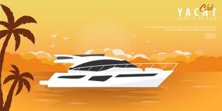 Club náutico y bandera del deporte de la navegación Viaje por mar Ilustración del vector stock de ilustración
