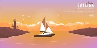Club náutico y bandera del deporte de la navegación Viaje por mar Ilustración del vector libre illustration