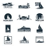 Club náutico y logotipo del deporte de la navegación, etiquetas, emblemas y elementos del diseño Viaje por mar Ilustración del ve ilustración del vector