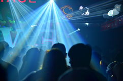 Club party is blurred background. Liting Stock Image
