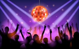 Club party with dancing people. Illustration of Club party with dancing people Royalty Free Stock Photography