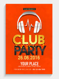 Club Party Flyer, Banner or Template design. Club Party celebration Flyer, Banner or Template design with illustration of headphone Royalty Free Stock Photography