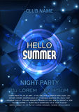 Club Party Flyer. Hello Summer Party Flyer. Vector Design. A4 Size Royalty Free Stock Photo
