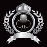 Club playing card suit iconin silver royal display Royalty Free Stock Photo