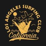 Club que practica surf de Los Ángeles, impresión del grunge de California para la ropa con el shaka - gesto de mano de la resaca  libre illustration