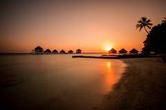 Club Rannalhi Maldives d'Adaaran de coucher du soleil Photographie stock