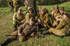 Club role-play reconstruction of one of the battles of World war 2 in the Kaluga region of Russia. Royalty Free Stock Photo