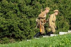 Club role-play reconstruction of one of the battles of World war 2 in the Kaluga region of Russia. Royalty Free Stock Images