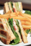 Club sandwich. With french fries stock image