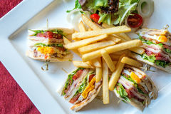 Club sandwich with bacon Royalty Free Stock Photo