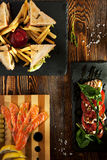 Club Sandwich, Caprese Salad and Cured Salmon Royalty Free Stock Images