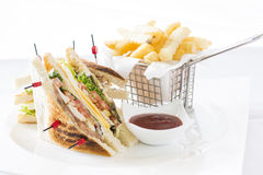 Club Sandwich Cheese, Cucmber, Tomato , Lettuce and french Fries Stock Photography