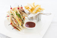 Club Sandwich with Cheese, Cucmber, Tomato , Lettuce and french Royalty Free Stock Photography