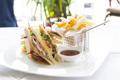 Club Sandwich with Cheese, Cucmber, Tomato , Lettuce and french Stock Photo