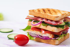 Club sandwich with chicken breast, bacon, tomato, cucumber Royalty Free Stock Images